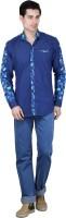 Bravezi Formal Shirts (Men's) - Bravezi Men's Floral Print Formal Dark Blue, Green Shirt