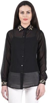Beautic Women's Solid Party, Lounge Wear Black Shirt