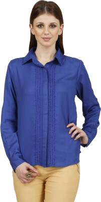 Raaziba Women's Solid Casual Blue Shirt