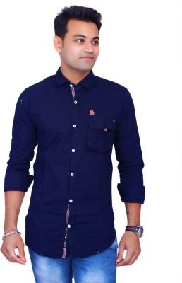 La Milano Men's Solid Casual Dark Blue Shirt