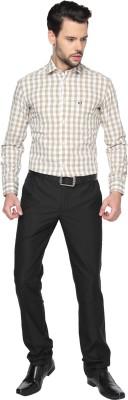 Manhattan Men's Checkered Casual Grey, Beige Shirt