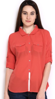 HRX by Hrithik Roshan Women,s Solid Casual Orange Shirt