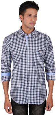 Dave Men's Checkered Casual Blue Shirt