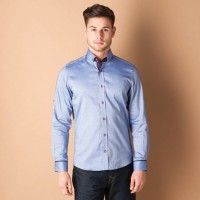 Eto Formal Shirts (Men's) - ETO Men's Solid Formal Blue Shirt