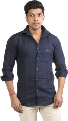 Basil Men's Solid Casual Blue Shirt
