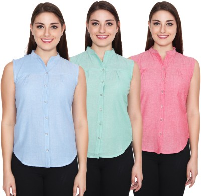 NumBrave Women's Solid Casual Blue, Green Shirt