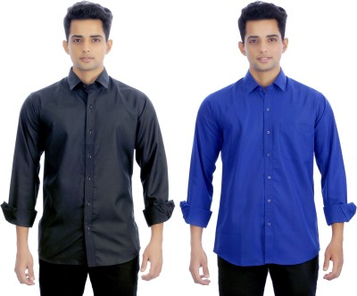 Atmosphere Men's Solid Formal Black, Dark Blue Shirt