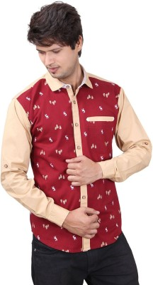 REFUEL SPORT Men's Printed Casual Maroon Shirt