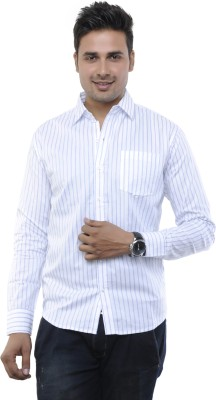 Adhaans Men's Striped Formal White Shirt