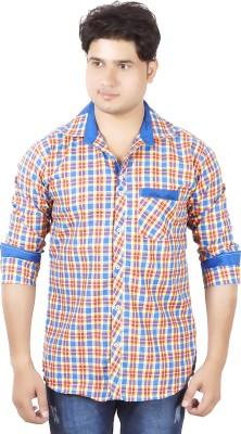 Aedi Men's Checkered Casual Blue Shirt