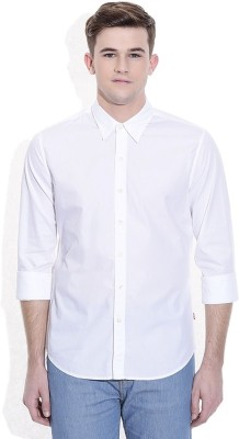 Alian Men's Solid Casual White Shirt