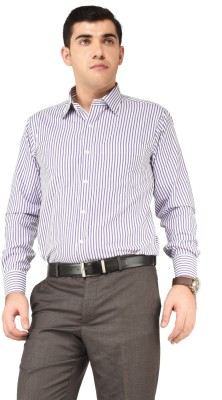Alpha Centauri Men's Striped Formal White Shirt