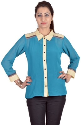 Indicot Women's Solid Casual Multicolor Shirt