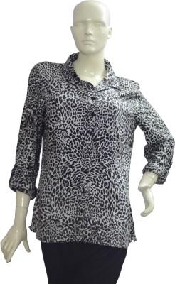 Jupi Women's Animal Print Casual Black, White Shirt