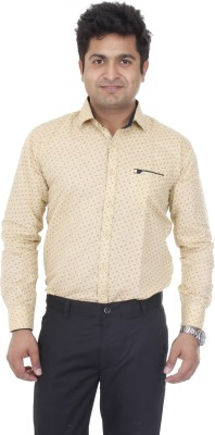 Aces Blue Men's Printed Casual Brown Shirt