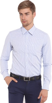 Classic Polo Men's Houndstooth Formal Light Blue Shirt