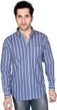 Denimize Men's Striped Casual White Shir...