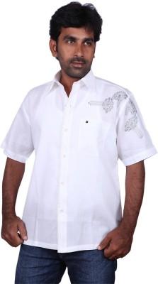Karlsburg Men's Embroidered Casual White, Black Shirt