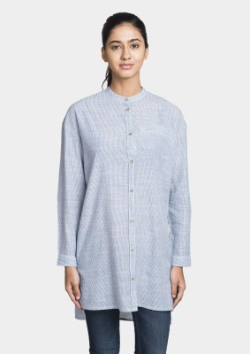Bhane Women's Striped Casual Light Blue Shirt