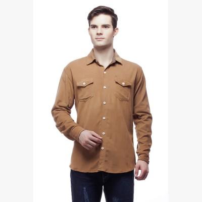 Akara Men's Solid Casual Brown Shirt