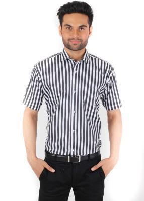 Spaky Men's Striped Formal Black Shirt