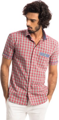 Specimen Men's Checkered Casual Red Shirt