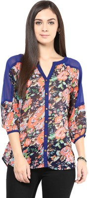 Shwetna Women's Floral Print Casual Reversible Blue Shirt