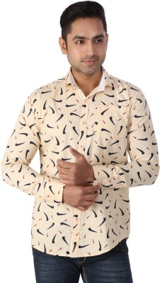 Regza Men's Printed Casual Yellow Shirt