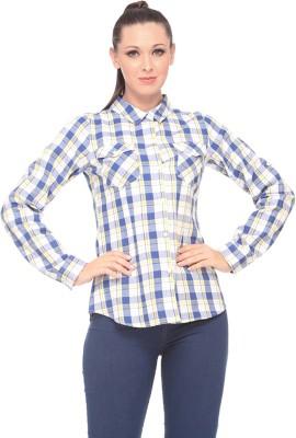 Zaivaa Women's Checkered Casual Blue Shirt