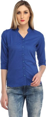 Cation Women's Solid Casual Blue Shirt