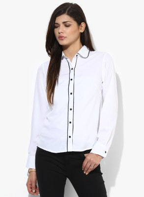 Popnetic Women's Solid Casual White Shirt