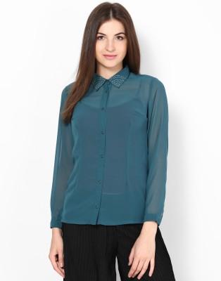 Kaxiaa Women's Solid Casual Green Shirt