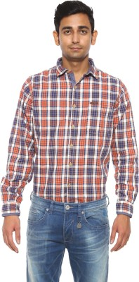 Pepe Jeans Men's Checkered Casual Orange Shirt