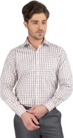 J Hampstead Formal Shirts (Men's) - J Hampstead Men's Checkered Formal Brown Shirt