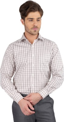 J Hampstead Men's Checkered Formal Brown Shirt