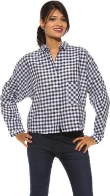 Pepe Women's Checkered Casual Blue Shirt