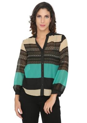 Philigree Women's Striped Casual Green Shirt