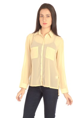 Bombay High Women's Solid Casual Beige Shirt