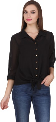 One Femme Women's Solid Party, Formal Black Shirt