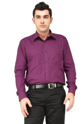 Hyphen Men's Checkered Formal Maroon Shirt