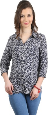 Amadeo Women's Printed Casual Light Blue Shirt