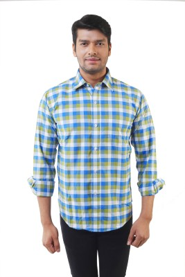 Lee Marc Men's Checkered Casual Green Shirt