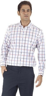 Silkina Men's Checkered Formal White, Red Shirt