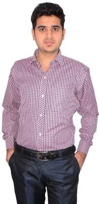 Culture Plus Men's Checkered Formal Pink, Blue Shirt