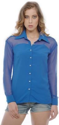 Divaat Women's Embellished Party Blue Shirt