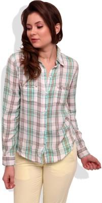 Street 9 Women's Checkered Casual White, Green Shirt