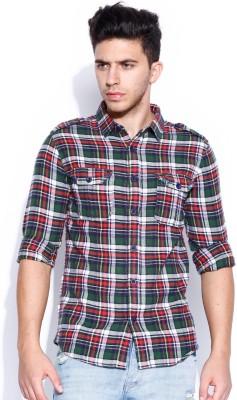 Noble Faith Men's Checkered Casual Green Shirt