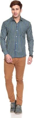 Stylistry Men's Checkered Casual Blue Shirt