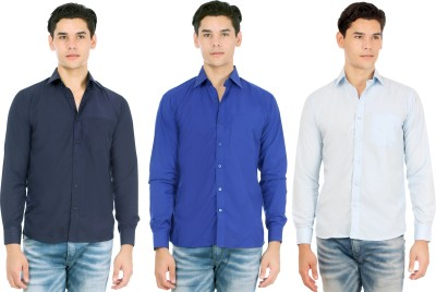 Atmosphere Men's Solid Formal Blue, Dark Blue, Light Blue Shirt