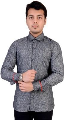 Kabeer Men's Printed Casual Blue, White Shirt